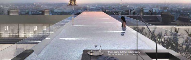 Piscine a débordement au cœur des Champs-Elysées